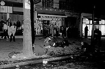 """Events of May-June 1968. Violent confrontations between demonstrators and police forces during the night of the barricades, boulevard Saint-Michel. Paris (Vth arrondissement), on May 10, 1968. Photograph by Bernard Charlet, from the collections of the French newspaper """"France-Soir"""". Bibliothèque historique de la Ville de Paris. © Bernard Charlet / Fonds France-Soir / BHVP / Roger-Viollet"""