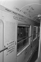Vandalism in a train of the SNCF, French railway company. France, 1979. © Jacques Cuinières / Roger-Viollet