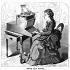 """Utilisation de la machine à écrire inventée par Christopher Latham Sholes (1819-1890). Annonçant les machines du XXe siècle,  les touches de cette machine avaient une action de piano, le chariot se déplaçait d'une case à gauche pour chaque caractère frappé et le clavier avait une disposition Qwerty. Sholes est racheté par Remington en 1874. Gravure sur bois extraite du """"Scientific American"""" (New York, 1872). © TopFoto / Roger-Viollet"""