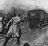 """Tentative d'assassinat de Georges Clemenceau : Emile Cottin tirant à l'arrière de sa voiture. Illustration extraite du journal """"Illustrated London"""", 1er mars 1919. © TopFoto / Roger-Viollet"""